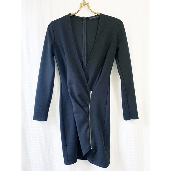 Faux wrap zip long sleeve mini dress